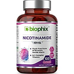 B-3 Nicotinamide 500 mg 100 Capsules - Natural Flush-Free Vitamin Formula | Gluten-Free Nicotinic Amide Niacin | Supports Skin Health | Healthy Cell Repair