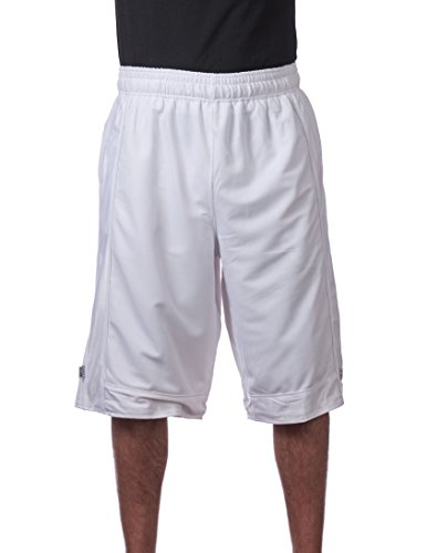 Pro Club Herren Basketball-Shorts aus schwerem Netzstoff - Weiß - X-Groß
