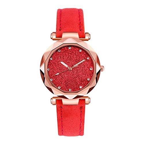 Hasayo Reloj de Las Mujeres romántico Cielo Estrellado de Pulsera de Cuero Informal Rhinestone diseñador de Las señoras del Reloj Sencillo Vestido (Color : C)
