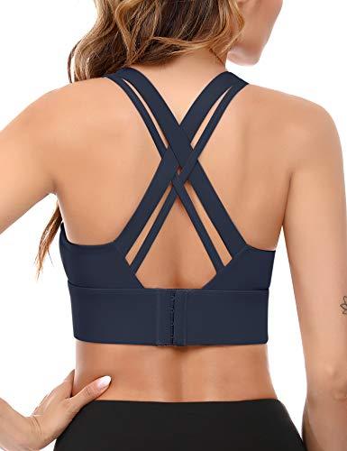 Akalnny Soutien Gorge Sport Brassiere Femme Sport Yoga Confort Seamless Coussinets Amovibles Dos Croisé,Bleu,XL