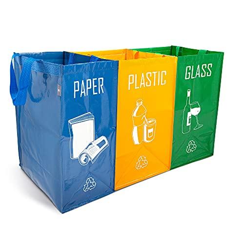 NORGGO Pack de 3 Bolsas Reciclaje Basura Colores | Contenedor Reciclaje para Papel, Vidrio y Plástico | Reciclaje Basura 3 cubos. Ideales para Reciclar en tu Hogar.