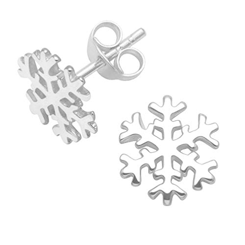 Heather Needham - Orecchini a perno a forma di fiocco di neve, in argento Sterling 10mm.
