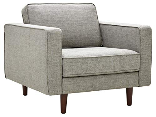"""Rivet Aiden Mid-Century Chair with Tapered Wood Legs, 35""""W, Light Grey"""