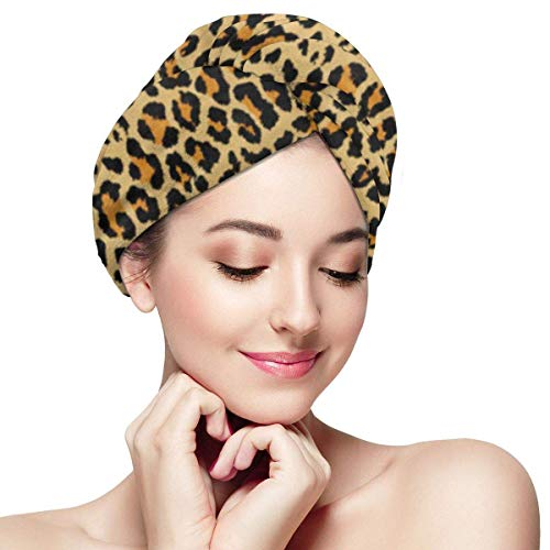 XBFHG Enveloppes De Serviette De Cheveux en Microfibre pour Les FemmesCapuchon De Cheveux Secs Rapides avec Bouton - Motif Léopard Peau Animal Guépard Abstrait Chat Artistique Africain Exotique