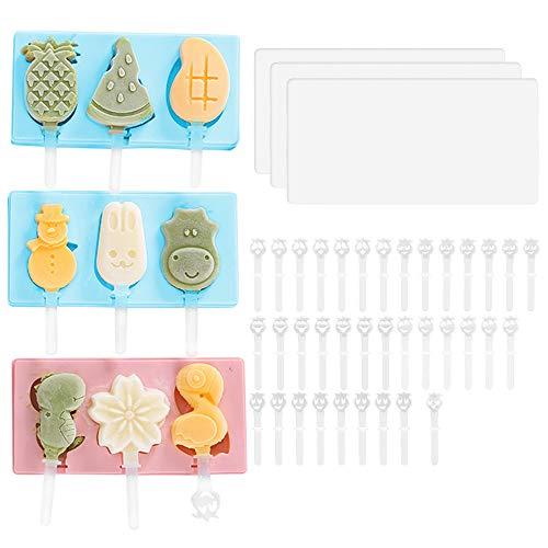 Paquete de 3 moldes de silicona para paletas con tapa, 3 cavidades caseras de hielo Pop Moldes con 36 palillos para helados