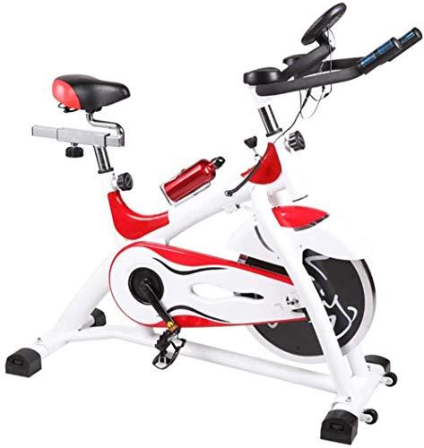 Bicicleta de Ciclismo de Interior Bicicleta de Ciclo silencioso de transmisión por Correa 15 kg Volante bidireccional 6 - Niveles de ajustes del Asiento Pantallas del Monitor Velocidad Distancia