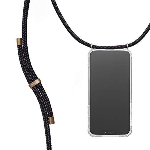 KNOK Handykette Kompatibel mit Apple iPhone 11 - Silikon Hülle mit Band - Handyhülle für Smartphone zum Umhängen - Transparent Hülle mit Schnur - Schutzhülle mit Kordel in Schwarz