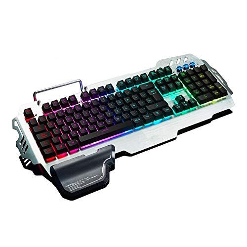 LPZW K900 RVB Gaming Keyboard Sensation mécanique 25 clés Anti-Whosting Ergonomie pour PC Russe Espagnol Français (Axis Body : Semi Mechanical, Color : ES Layout)