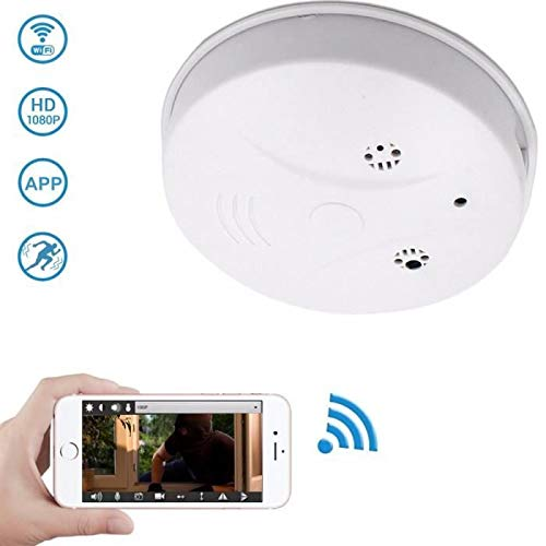 MOTOULAX Cámara Oculta espía, WiFi Detector de Humo Cámara HD 1080 Detección de Movimiento Visión Nocturna Grabación en Bucle Seguridad Nanny CAM Mini Grabadora de Video para el hogar