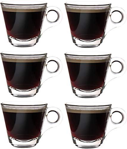 idea-station tazzine Caffe Vetro 6 Pezzi, 8 cl (80 ml), Trasparente, Set tazzine da Caffe, tazzine Caffe Design, particolori, Tazze Caffe, Tazza Vetro, bichhieri Caffe, Farbe:80 ml / 6 St. / Design B