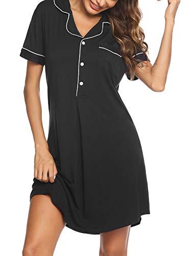 Ekouaer Damen Nachthemd Nachtwäsche Nachtkleid Baumwolle Kurzarm Rundhals Lässige Schlafhemd Sleepshirt Schlafanzug Damen Sleepwear Mit Vordertasche