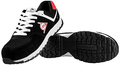 Dunlop Flying Arrow Sicherheitsschuhe S3 | Arbeitsschuhe S3 mit Zehenkappe | Sportlich & Atmungsaktiv | Größe 39 + Ace Schuhbeutel, Schwarz/Weiß, 44 EU
