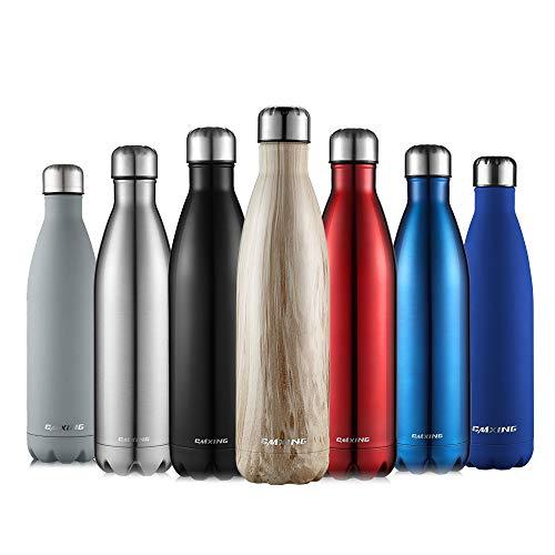 cmxing Doppelwandige Thermosflasche 500 mL / 750 mL mit Tasche BPA-Frei Edelstahl Trinkflasche Vakuum Isolierflasche Sportflasche für Outdoor-Sport Camping Mountainbike (Holz Farbe, 750 mL)