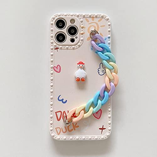 LIUYAWEI Estuche con Cadena de muñeca para iPhone 12 11 Pro MAX 7 8 Plus XR Estuches IMD Suaves Estuche Colgante de Cadena con Pulsera de arcoíris de Pato Lindo para iPhone 12, b, para iPhone 7 u 8