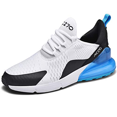 SMXX Zapatos para Correr para Hombres, Zapatillas livianas, Skate de Aire, Ejercicio, Gimnasia Informal, Transpirable y al Aire Libre, Zapatos para Correr (38 EU, Blanco Azul)