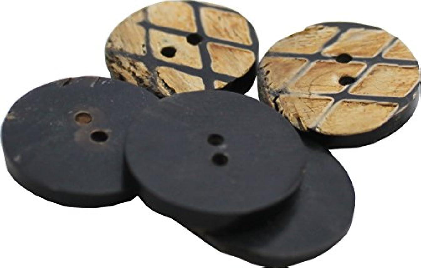 Full Funk Hand Hewn Buttons Bovine Gradook Renaissance Criss Cross Round 24mm 5pcs
