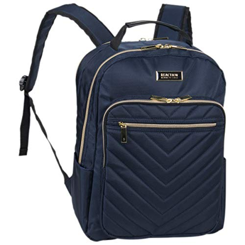 Kenneth Cole Reaction Women's Chelsea Backpack Chevron Quilted 15-Inch Laptop & Tablet Fashion Bookbag Daypack, Navy, One Size