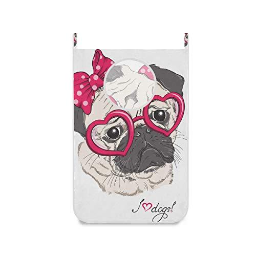 XiangHeFu Animal Encantador Cute Princess Pug Canasta para Perros Cesto de la Ropa Gran Almacenamiento Bolsa de Tela Plegable para Colgar en la Puerta