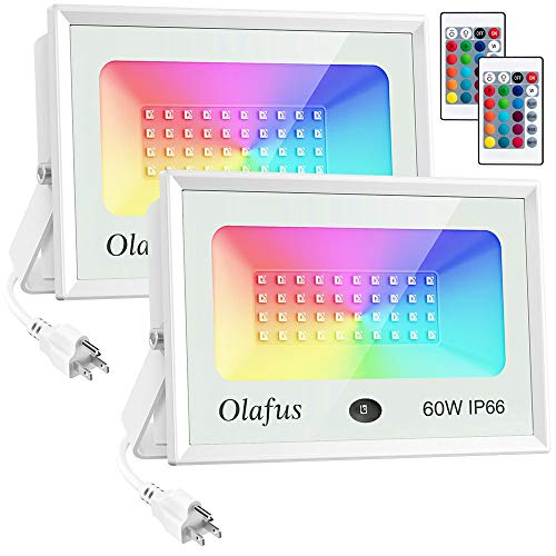 Olafus 2 Pack 60W RGB Flood Lights, Colored Floodlights with Remote Control, Ip66 Waterproof Dimmable Outdoor Color Changing Wall Wash Light, Exterior Uplighting for Party Landscape Garden
