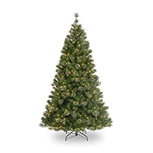 northlight pre-lit atlanta mixed cashmere pine medium artificial christmas tree with clear lights, 7.5′ silk flower arrangements