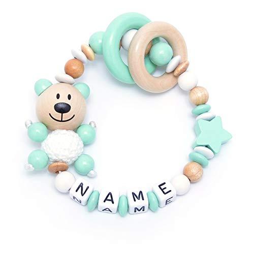 Baby Greifling Beißring geschlossen mit Namen - individuelles Holz Lernspielzeug als Geschenk zur Geburt & Taufe - Mädchen Jungen Motiv Bär und Stern in mint natur