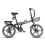 JHNEA 16 Pulgadas Plegable Bicicleta, 7 velocidades Marco de Acero al Carbono Bicicleta Plegable Street con Estante Sillin Confort y Defensa Bicicleta Plegable Urbana,Black-B