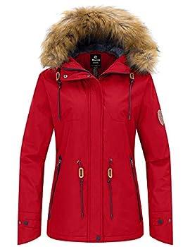 Wantdo Women s Windproof Winter Jacket Waterproof Ski Coat Red M