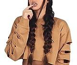 Señoras Crop Tops Jersey De Cuello Blusa Jumper Redondo Vintage Moda Broken Hole De Manga Larga Sudadera Tops Suéter (Color : Khaki, Size : L)