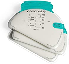 nanobébé 100 Breastmilk Storage Bags Refill Pack – Fast, Even Thawing & Warming – Breastfeeding Supplies Lay Flat to Save Space & Track Pumping – Breastmilk Bags for Freezer or Fridge …