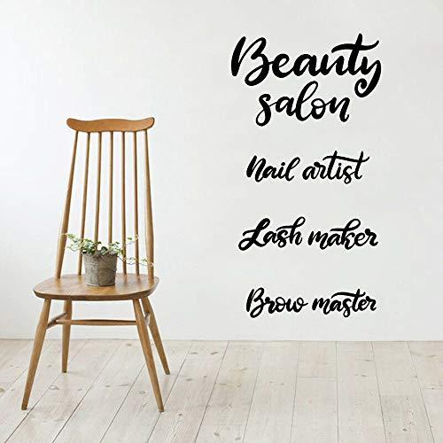 jiushivr Schönheitssalon Vinyl Wandtattoo Wohnzimmer Schriftzug Nail Artist Lash Maker Stirn Master Wandaufkleber Bad Nordic Decor 42x78cm