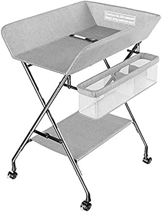 CWJ Small Bed for Look After Baby Without Bending Over  Baby Changing Table Grey Foldable with Storage Wheels  Portable Diaper Organizer for Infant  Table Height Adjustable Save Space Storage Desk