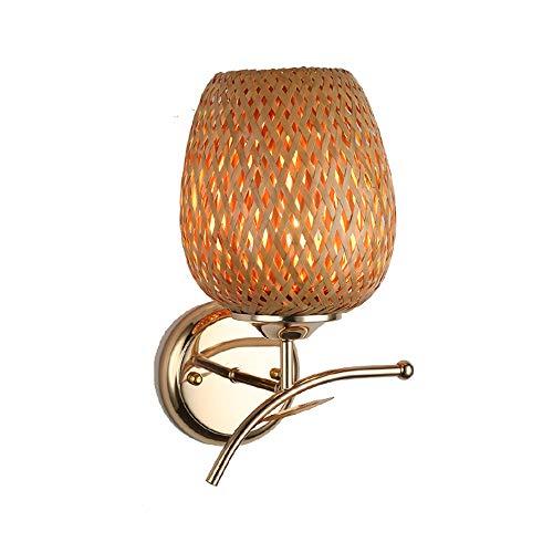 Liuqing wandlamp, handgemaakt van natuurlijk bamboe, wandlamp, geweven, langwerpig, van smeedijzer