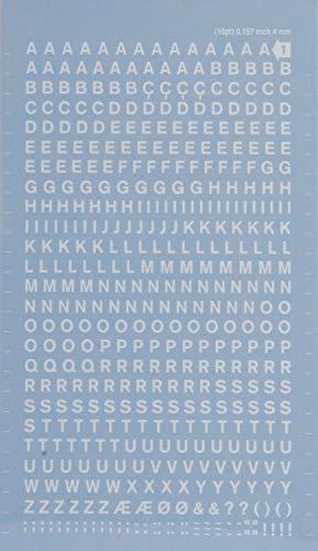 Buchstaben und Zahlen übertragbar, schwarz. Buchstaben 4 mm weiß
