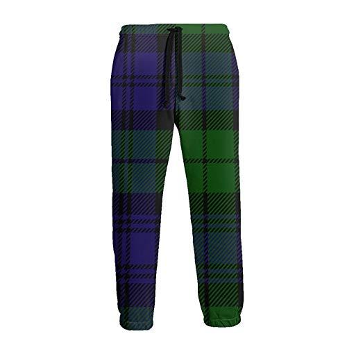 QUEMIN Pantalones de chándal para Mujer, Pantalones con cordón, Pantalones de chándal de poliéster Suave con Bolsillo, Cuadros Escoceses Verde, Negro, Azul, tartán Campbell