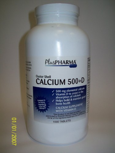 Oyster Shell Calcium 500mg + Vitamin D 200iu (Compare to OsCal 500mg+D) -  PlusPharma
