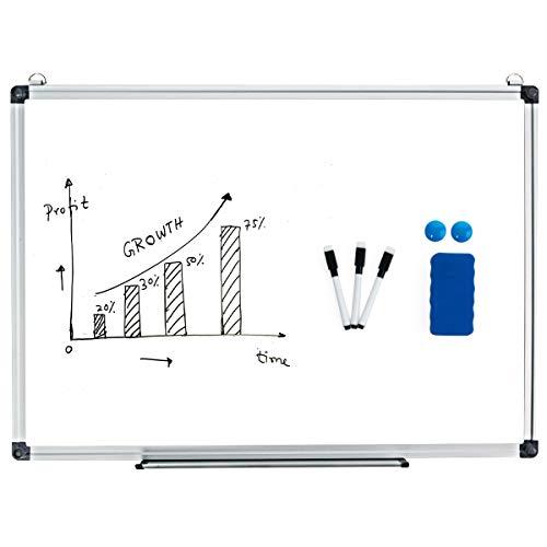 COSTWAY Whiteboard Magnettafel Schreibttafel Pinnwand Wandtafel Board Memoboard mit Alurahmen viele Größen wählbar(90x60cm)