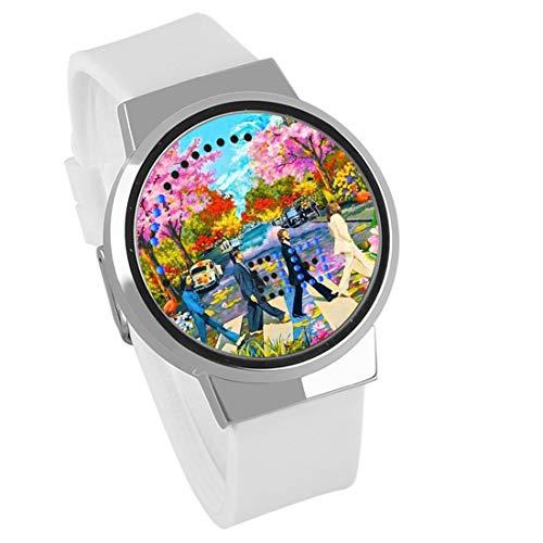 Armbanduhren,Touchscreen LED Uhr Die Beatles Rock Band Um Wasserdicht Leuchtend Elektronische Hand Persönlichkeit Mode Silber Muschel Leukorrhoe