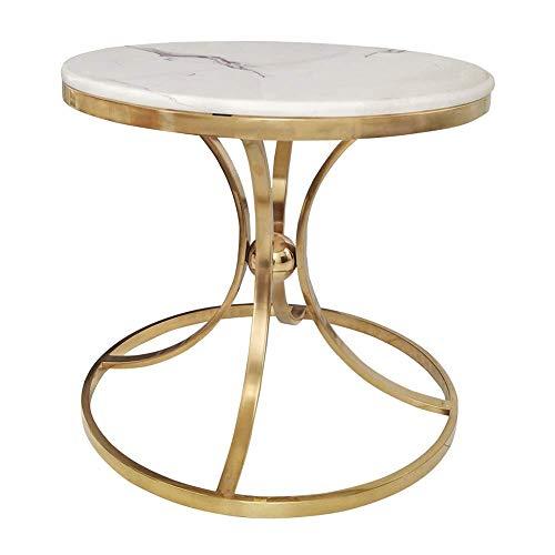 Carl Artbay Home & Selected Furniture/Marmer Accent tafel sofa bijzettafel woonkamer hoektafel kleine ronde tafel balkon salontafel, goud, 19,6 x 21,6 inch