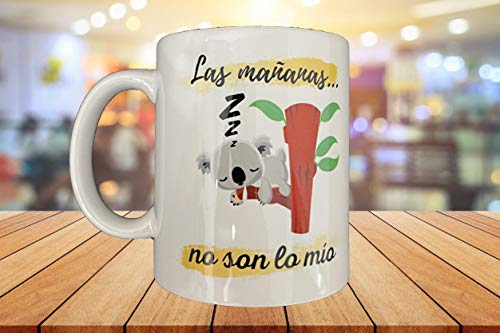 MOL3D - Taza con frase y dibujo. Regalo Original 'Las mañanas no son lo mio ' - 350 ml