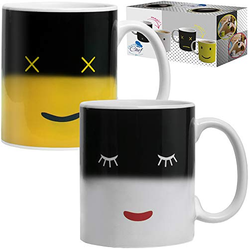 Chuzy Chef wärmeempfindliche Tassen mit verändernden Farben und Smileys, Set aus Keramik-Kaffee- und Teetassen,tolles Geschenk für die Mutter, Freunde, Damen & Herren, 2 Stück, 340 ml