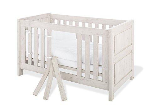 Pinolino 110063 Modernes Kinderbett mit 3 Schlupfsprossen, aus MDF, Umbauseiten Enthalten, 140 X 70 cm, eiche grau
