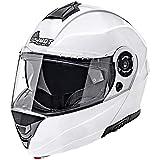 Germot Motorrad Klapp-Helm GM 960, kratzfestes Visier, weiß, XL