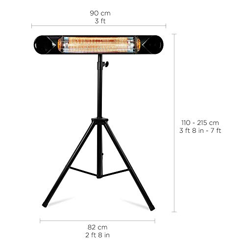 Briza Carbon Infrared Heater - Electric Patio Heater - Large Shop Heater - Indoor/Outdoor Heater - Wall Heater - Garage Heater - Portable Heater - 1500W - use with Stand - Mount to Ceiling/Wall
