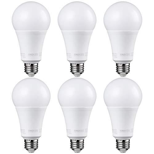 TORCHSTAR A21 Dimmable LED Bulb, CRI 90+, 17W (100W Equivalent), 1600 Lumens, 5000K Daylight, E26 Medium Base, UL & Energy Star, Pack of 6