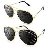 Ganzoo - Set di 2 occhiali a griglia con design 'pilota', occhiali forati per allenare gli occhi in modo rilassante e mirato, con stanghette pieghevoli, forma E, colore: oro/nero