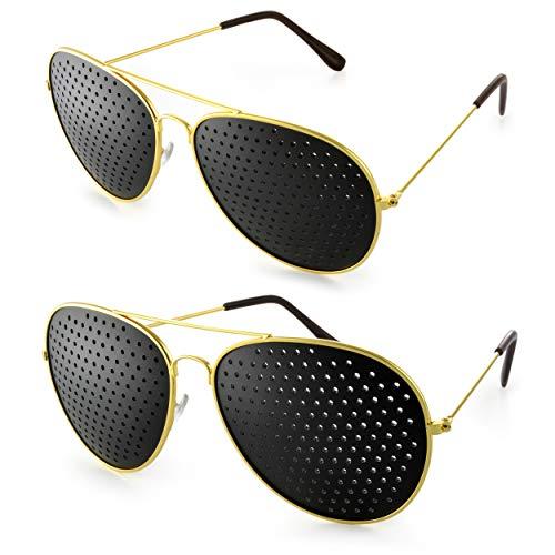 """2er SET Rasterbrille im stylischen """"Pilotendesign"""", Lochbrille für Augentraining zur Entspannung und gezieltem Training, Gitterbrille mit faltbaren Bügeln, Form E, Farbe: gold/schwarz, Marke Ganzoo"""