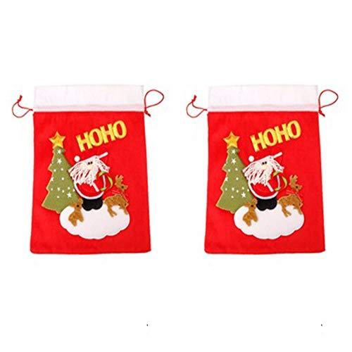 Amasawa 2 Pezzi Sacco di Babbo Natale Personalizzato, Sacchi di Natale Grandi con Cordoncino
