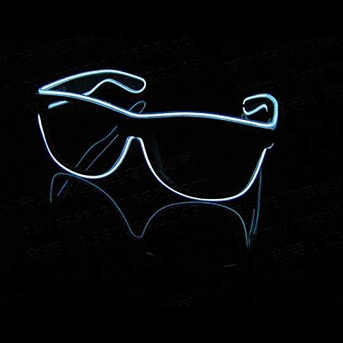 ZLUCKHY Ilumina EL Wire Neon Rave Gafas Glow Intermitente Gafas De Sol LED Disfraces para Fiesta,Blanco