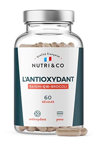 Coenzyme Q10 + Pépins de Raisin OPC + Brocoli   CoQ10 Brevetée Bio-Disponible   Vit C Précurseur du Collagène   Mix pour la Peau   60 Gélules Vegan Made in France   Nutri&Co