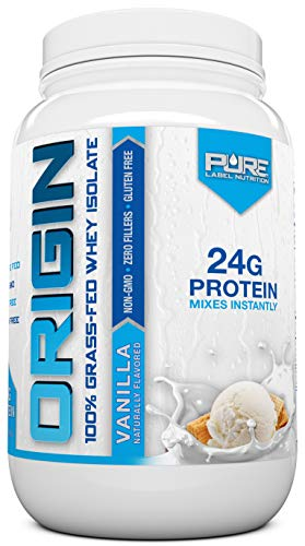 Pure Label Nutrition Vanilla Whey Protein Isolate, 100% Natural Grass Fed Protein Powder, Gluten-Free, Zero Carbs with No Added Sugar, 2lb